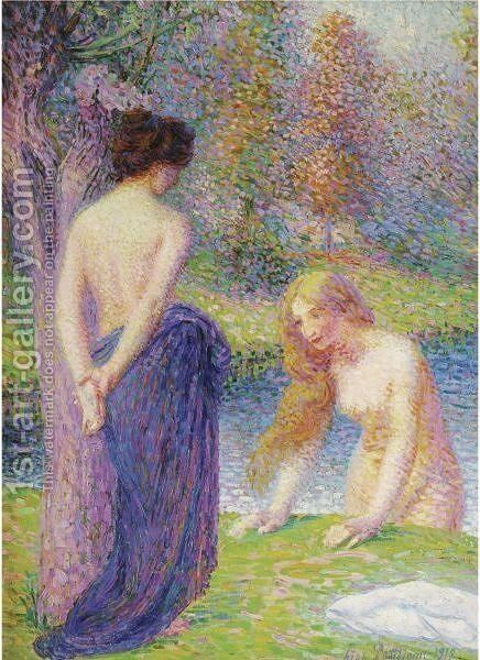 Femmes Au Bain by Hippolyte Petitjean - Reproduction Oil Painting