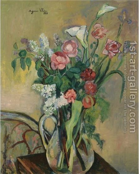 Bouquet Dans Un Vase De Crystal by Suzanne Valadon - Reproduction Oil Painting
