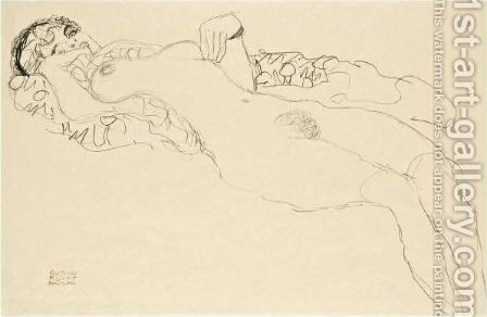 Liegender Madchenakt Nach Links (Reclining Female Nude Facing Left) by Gustav Klimt - Reproduction Oil Painting