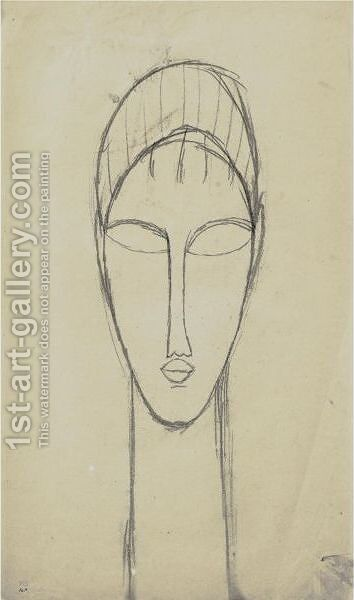 Tete De Face 2 by Amedeo Modigliani - Reproduction Oil Painting