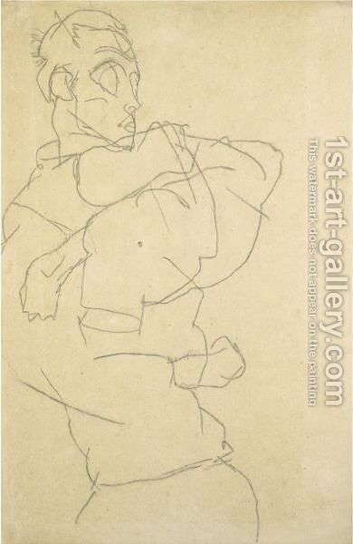 Selbstdarstellung (Self-Portrait) by Egon Schiele - Reproduction Oil Painting