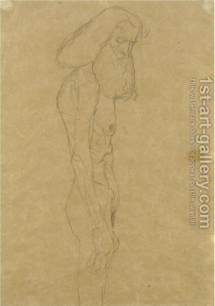 Aufrecht Stehender Greis Nach Rechts (Standing Old Man Facing To The Right) by Gustav Klimt - Reproduction Oil Painting