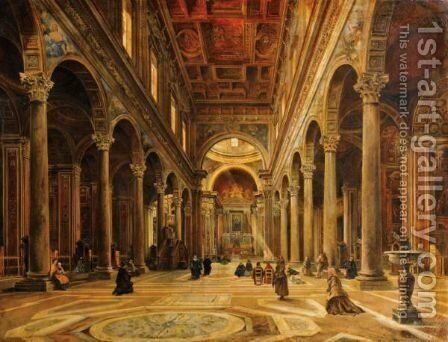Interieur D'Eglise by (after) Giovanni Giordano Lanza - Reproduction Oil Painting