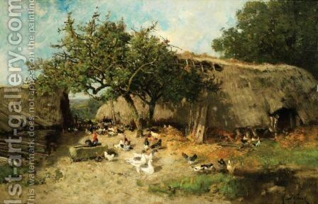 La Basse Cour by Alexandre Defaux - Reproduction Oil Painting