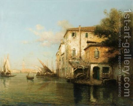View Of A Canal In Venice by Antione Bouvard - Reproduction Oil Painting