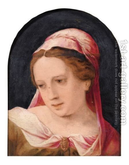 Young Woman Wearing A Pink Shaw by (after) Jan Sanders Van Hemessen - Reproduction Oil Painting