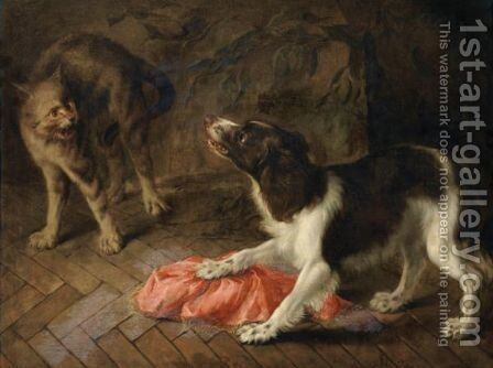 A Dog Quarelling With A Cat by (after) Abraham Danielsz Hondius - Reproduction Oil Painting