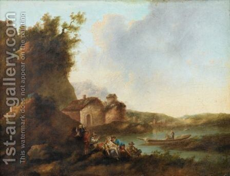 River Landscapes With Boats by (after) Jean-Baptiste Sarrazin - Reproduction Oil Painting