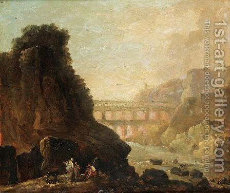 Vue Imaginaire Du Pont Du Gard by Hubert Robert - Reproduction Oil Painting