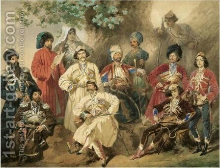 Military Group Portrait by Mihaly von Zichy - Reproduction Oil Painting
