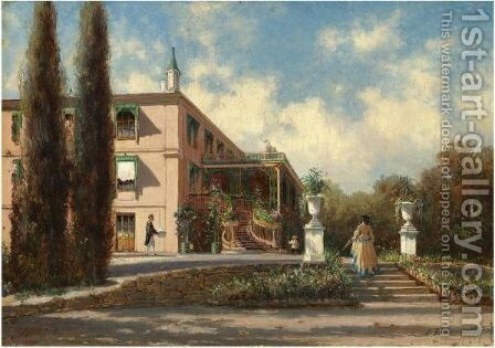View Of The Grand Palace, Livadia by Aleksei Petrovich Bogoliubov - Reproduction Oil Painting