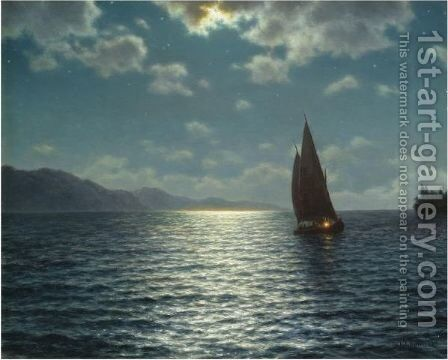 Moonrise Over Lake Leman by Ivan Fedorovich Choultse - Reproduction Oil Painting