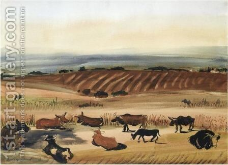 Cattle At Rest by Boris Dmitrievich Grigoriev - Reproduction Oil Painting