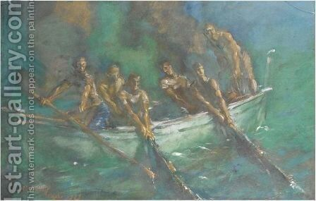 Fishing At Night by Alexander Evgenievich Yakovlev - Reproduction Oil Painting