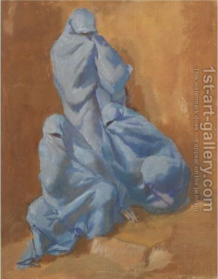 Three Women In Blue Veils by Alexander Evgenievich Yakovlev - Reproduction Oil Painting