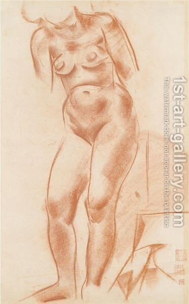 Standing Nude 2 by Alexander Evgenievich Yakovlev - Reproduction Oil Painting