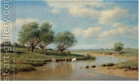 Cattle Watering by Mikhail Konstantinovich Klodt - Reproduction Oil Painting
