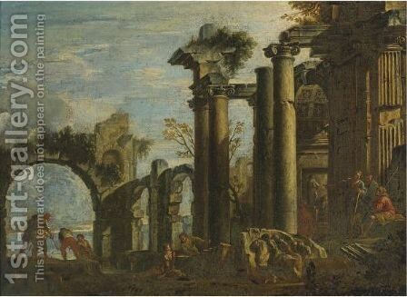 Architectural Capriccio With Fishermen And Figures Resting Among Ruins by (after) Giovanni Ghisolfi - Reproduction Oil Painting