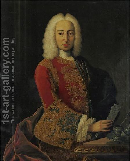 Portrait Of A Gentleman Holding A Letter by Italian School - Reproduction Oil Painting
