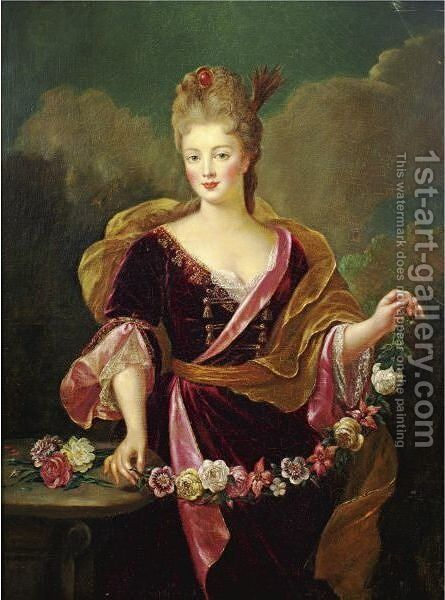 Portrait Of A Woman, Said To Be Adrienne Lecouvreur by (after) Alexis-Simon Belle - Reproduction Oil Painting