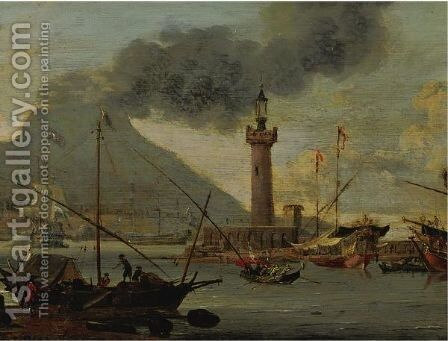View Of Vesuvius by Abraham Storck - Reproduction Oil Painting