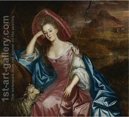 Portrait Of A Lady As A Shepherdess by (after) Jan Mytens - Reproduction Oil Painting