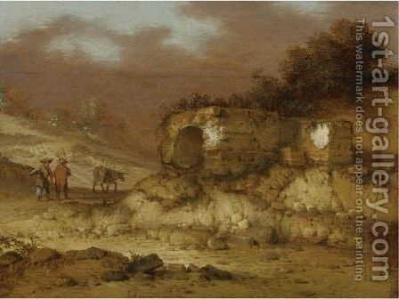 A Landscape With Ruins And Figures Driving A Donkey by Jacobus Sibrandi Mancadan - Reproduction Oil Painting