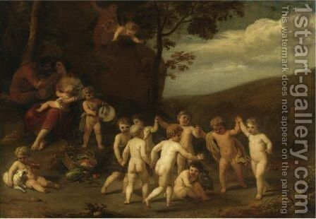 Putti Making Music And Dancing In A Landscape by Cornelis Holsteyn - Reproduction Oil Painting