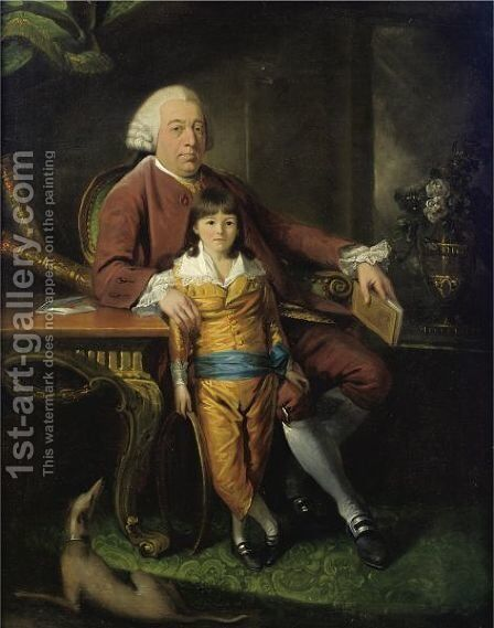 Portrait Of A Gentleman With His Son by Mason Chamberlin - Reproduction Oil Painting