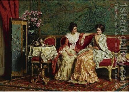 Tea Time by Guglielmo Zocchi - Reproduction Oil Painting