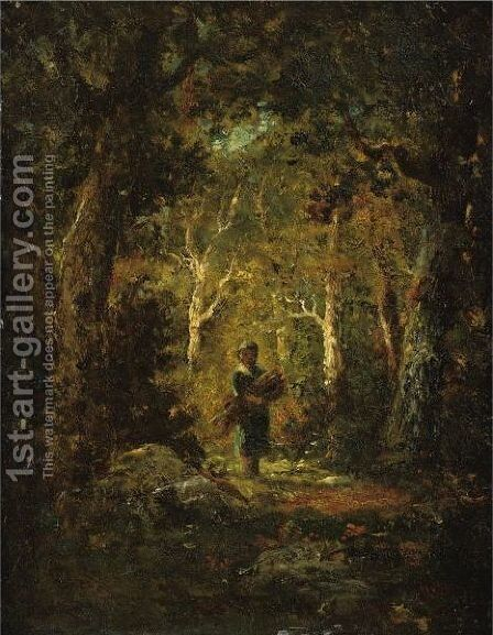 Wood Gatherer In A Forest by Narcisse-Virgile Díaz de la Peña - Reproduction Oil Painting