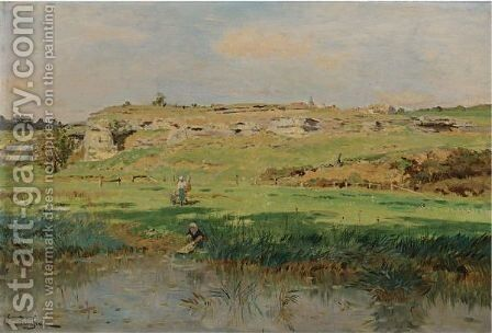 Washerwoman At The River by Edmond Marie Petitjean - Reproduction Oil Painting