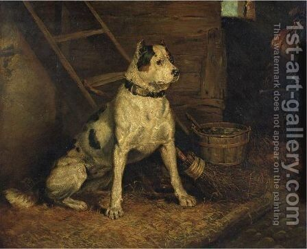 A Dog In A Stable by (after) Landseer, Sir Edwin - Reproduction Oil Painting