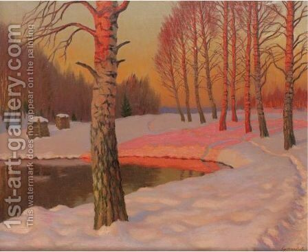 Winter Sunset by Mikhail Markianovich Germanshev - Reproduction Oil Painting