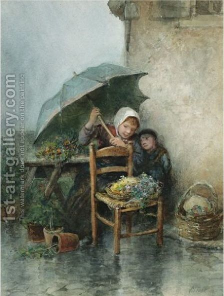 Caught In The Showers by Jan Mari Henri Ten Kate - Reproduction Oil Painting