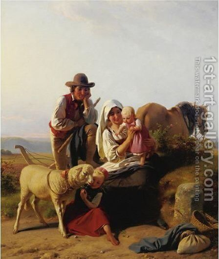 Shepherd Family by Jakob Becker Von Worms - Reproduction Oil Painting