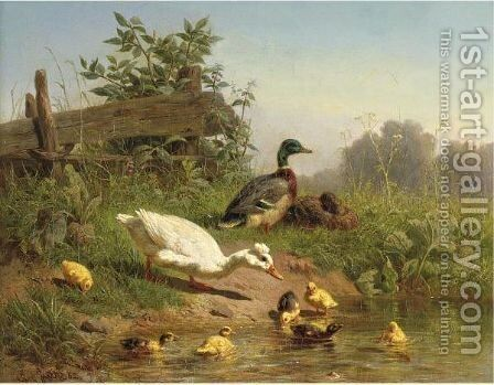 A Cooling Bath by Carl Jutz - Reproduction Oil Painting