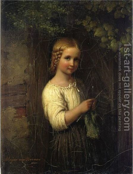 Knitting Girl by Meyer Georg von Bremen - Reproduction Oil Painting