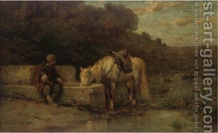 A Rest By The Fountain by Adolf Schreyer - Reproduction Oil Painting