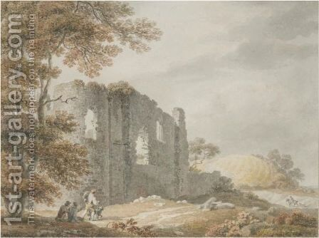 Travellers By A Ruined Castle by Michael Angelo Rooker - Reproduction Oil Painting