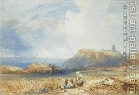 Distant View Of Scarborough Castle, Yorkshire by Charles Bentley - Reproduction Oil Painting