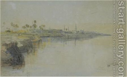 Girzeh, Egypt by Edward Lear - Reproduction Oil Painting