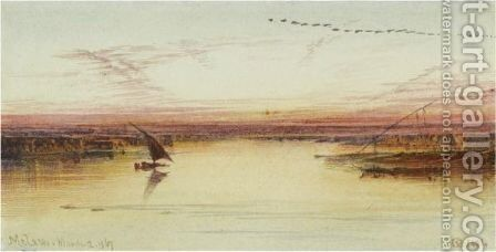 Melawi, Nile Valley by Edward Lear - Reproduction Oil Painting
