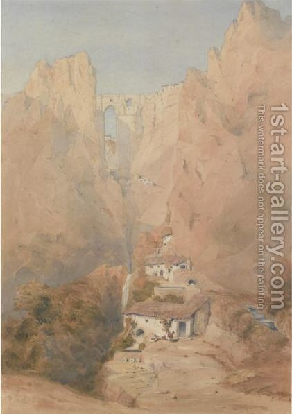 View Of The Puente Nuevo, Ronda, Spain by David Roberts - Reproduction Oil Painting