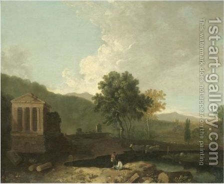 The Temple Of Clitumnus by (after) Richard Wilson - Reproduction Oil Painting
