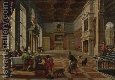 Interior Of A Palace With Elegant Figures Dining (Parable Of Lazarus And The Rich Man) by Bartholomeus Van Bassen - Reproduction Oil Painting