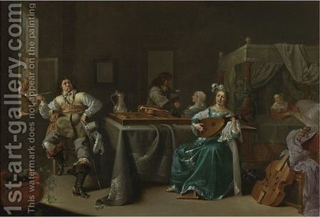 A Merry Company In An Interior 2 by Jacob Duck - Reproduction Oil Painting