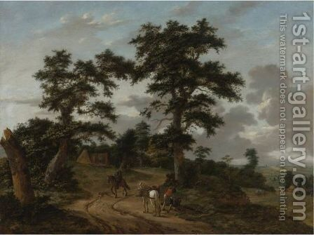 Extensive Landscape With Figures And Horses Along A Path by Haarlem School - Reproduction Oil Painting