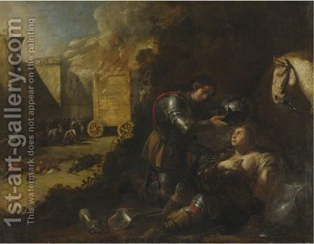 Tancred And Clorinda by Aniello Falcone - Reproduction Oil Painting