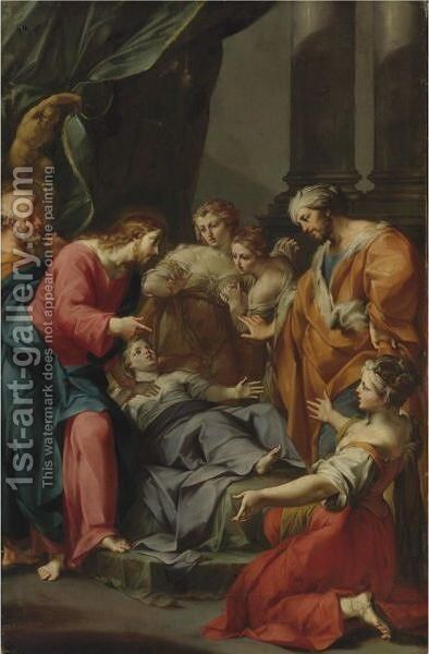 The Raising Of Jairus' Daughter by Giuseppe Marchesi - Reproduction Oil Painting